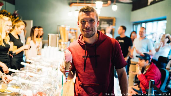 Lukas Podolski in his ice cream parlor