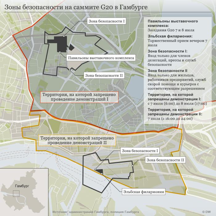 Infografik Karte Hamburg G20 RU