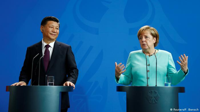 Chinese President Xi Jinping with Chancellor Angela Merkel