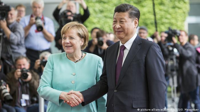 Merkel e o presidente chinês, Xi Jinping durante encontro em Berlim