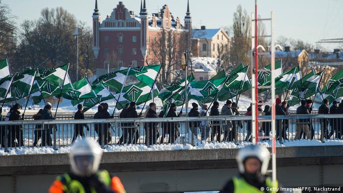 Nordic Resistance Movement members in Stockholm protest against migrants