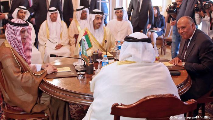 اجتماع يضم وزراء خارجية دول المقاطعة: السعودية، والامارات، والبحرين، ومصر.