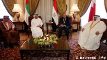 05.07.2017 *** Saudi Foreign Minister Adel al-Jubeir (L), UAE Foreign Minister Abdullah bin Zayed al-Nahyan (C-L), Egyptian Foreign Minister Sameh Shoukry (C-R), and Bahraini Foreign Minister Khalid bin Ahmed al-Khalifa meet to discuss the diplomatic situation with Qatar, in Cairo, Egypt, July 5, 2017. The Foreign Ministers meetingis held after Qatar sent a formal letter of response to the 13-points list of demands to the emir of Kuwait, the main mediator in the Gulf crisis, in response to diplomatic and economic sanctions from Saudi Arabia and its allies, Egypt, the United Arab Emirates (UAE) and Bahrain on allegations that Qatar is funding extremism. REUTERS/Khaled Elfiqi/Pool