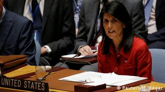 US ambassador Nikki Haley addressing the UN Security Council (Reuters/M. Segar)