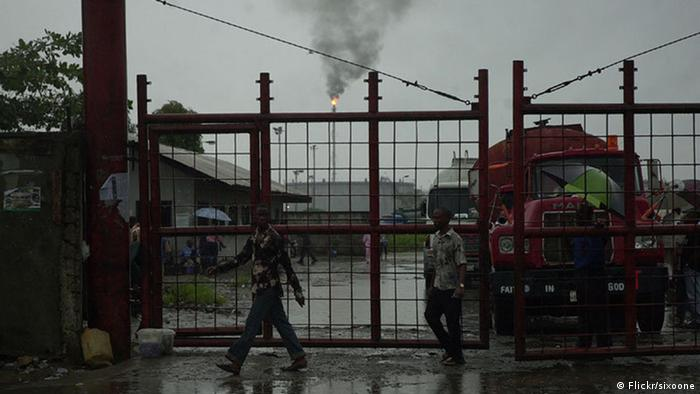 Gates to an oil refinery in Port Harcourt