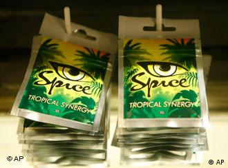 Packets of ' Spice' a mixture to smoke, seen in a shop in Berlin