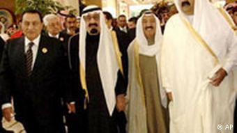 President Hosni Mubarak, of Egypt, King Abdullah of Saudi Arabia, Sheikh Sabah Al Sabah, Amir of Kuwait and Sheikh Hamad Bin Khalifa Al Thani, Amir of Qatar,