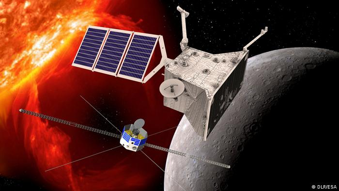 An illustration of the BepiColombo space probe approaching Mercury