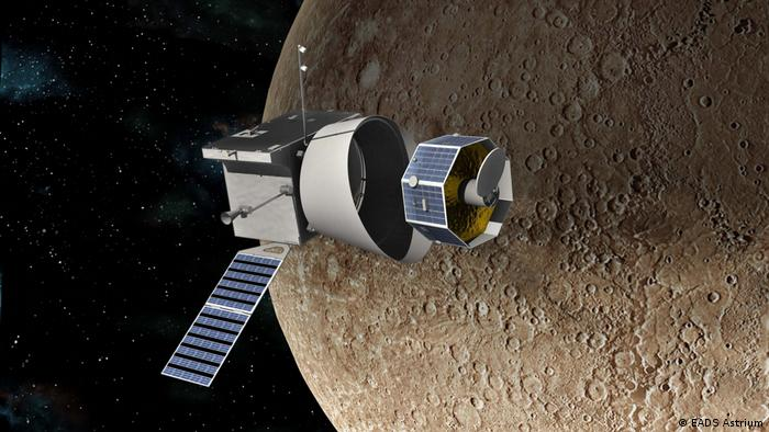 Artist's image of spacecraft BepiColombo at Mercury