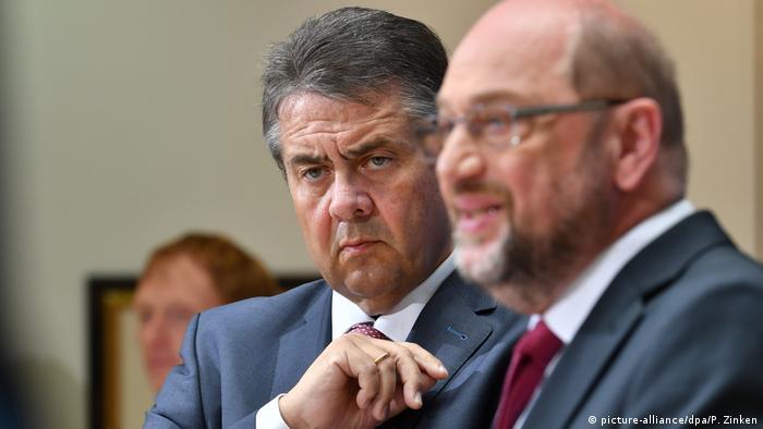 German Foreign Minister Sigmar Gabriel and SPD head Martin Schulz