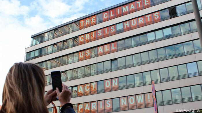 WWF message in windows for climate protection