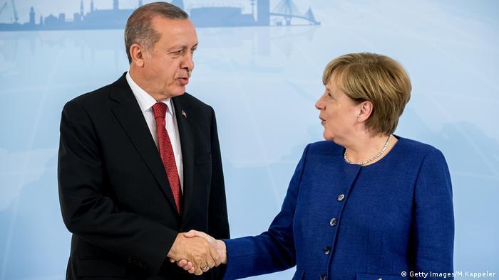 Angela Merkel and Recep Tayip Erdogan G20 Hamburg
