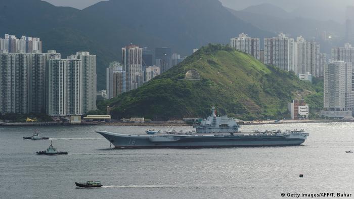 China S Huge Liaoning Aircraft Carrier Sails Into Hong Kong