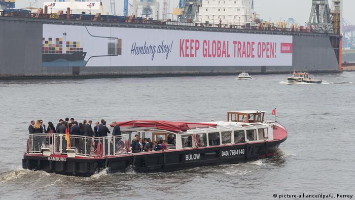 Прогулка супругов лидеров G20 по гамбургскому порту