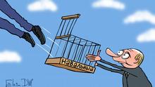 Karikatur von Sergey Elkin. Thema: Der russische Oppositionelle Alexey Nawalny wurde aus der Haft freigelassen Stichworte: Sergey Elkin, Russland, Putin, Wahlen, Freilassung von Alexey Nawalny, Proteste in Russland Jahr/Ort: Moskau, 07.07.2017