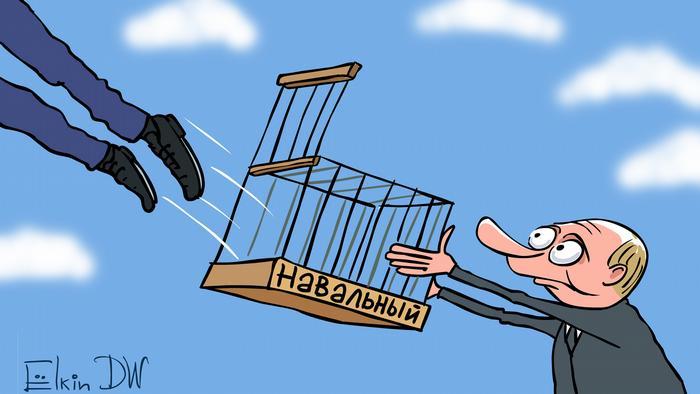 Karikatur Alexey Nawalny Haftentlassung von Sergey Elkin