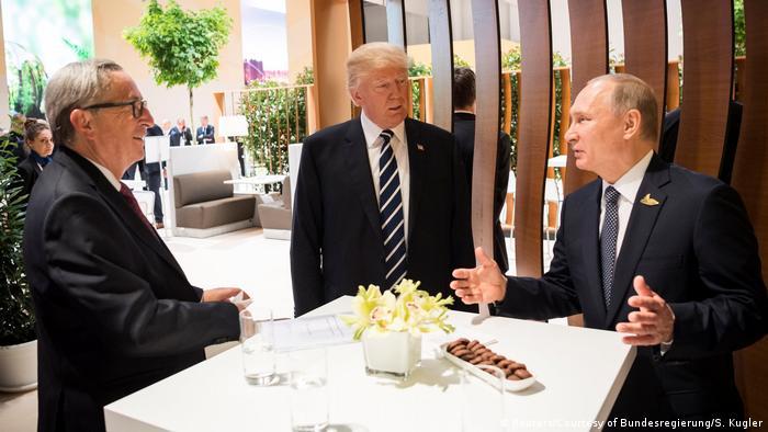 EC President Jean-Claude Juncker, US President Donald Trump and Russian President Vladimir Putin in Hamburg