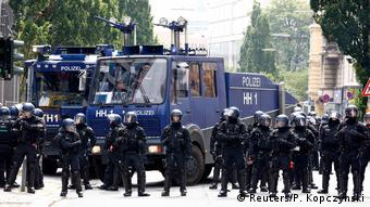 L'encadrement des manifestations est du ressort des Länder en Allemagne, ici à Hambourg lors du G20