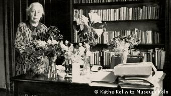 A black-and-white photo of Käthe Kollwitz on her 70th birthday: July 8, 193