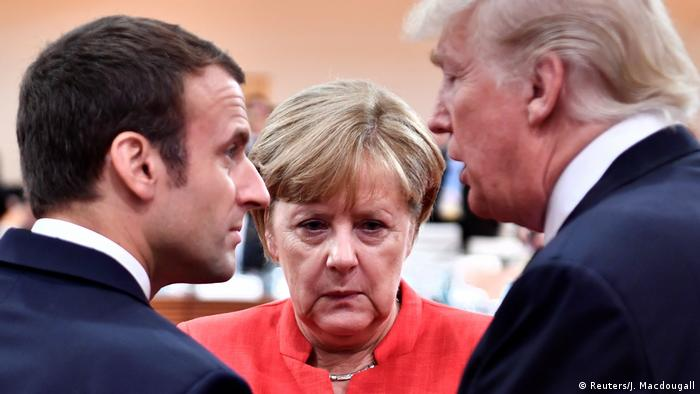 Emmanuel Macron, Angela Merkel and Donald Trump at the G20 Summit in Hamburg in July 2017.
