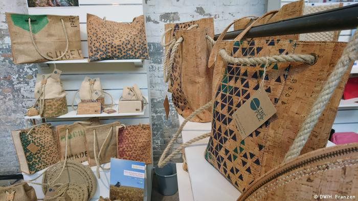 Cork bags on display at the Ethical Fashion Show in Berlin