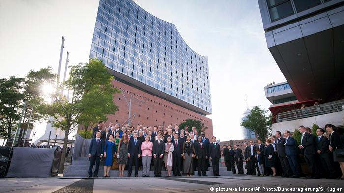 G20 leaders take part in the group photo at Hamburg's Elbphilharmonie