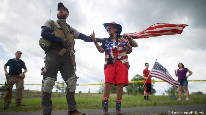 Helena Rodriguez, a patriotic activist argues with a counter-protester at the Gettysburg National Military Park in Pennsylvania. Patriotic activist, including Sons of the Confederate Veterans and Real 3% Risen, staged multiple free speech rallies opposing a rumored anti-fascist confederate flag burning on the 154th anniversary of the historic Civil War battle.