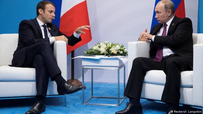 Deutschland, Hamburg, G 20, Macron und Putin (Reuters/I. Langsdon)