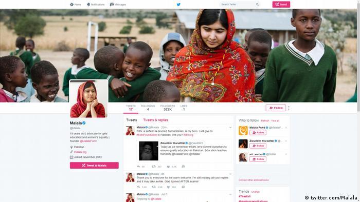 Screenshot Twitter Malala