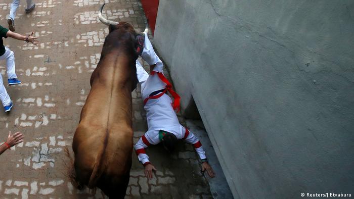 Stierhatz in Pamplona Spanien (Reuters/J.Etxaburu)