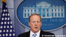 White House spokesman Sean Spicer holds an off-camera briefing (no TV) at the White House in Washington, U.S., June 26, 2017. REUTERS/Kevin Lamarque