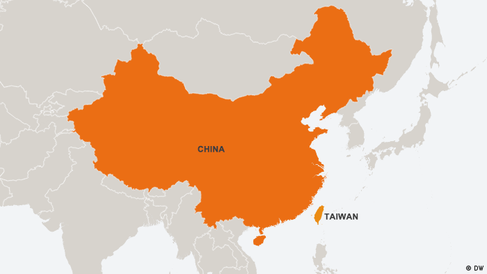 Map showing China and Taiwan