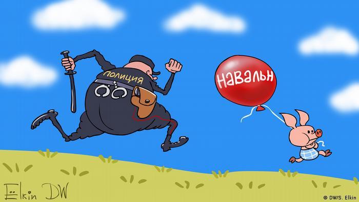 Karikatur Sergey Elkin | Festnahmen von Navalny Anhängern (DW/S. Elkin)