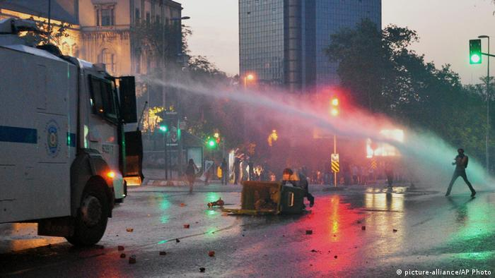 Water cannons being fired at protesters in Gezi Park