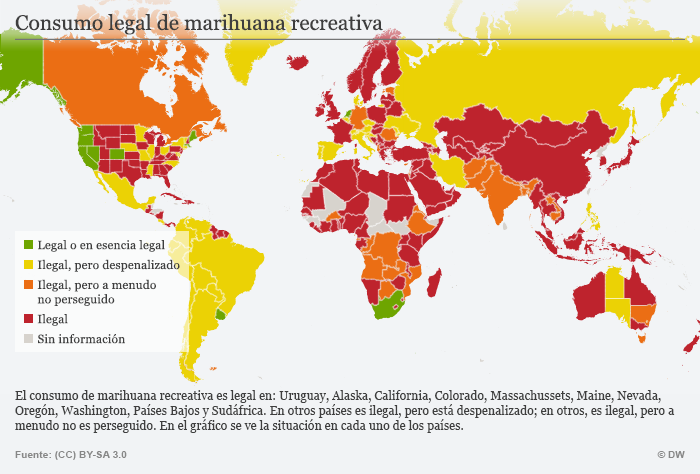Infografik Karte gesetzliche Regelungen zum Kanabis Konsum