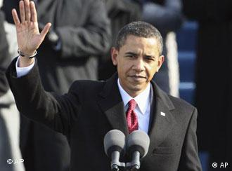 President Barack Obama waves before giving his inaugural address at the U.S. Capitol in Washington, Tuesday, Jan. 20, 2009.