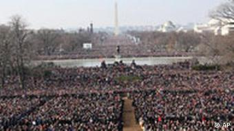 Crowd at inauguration ceremony of President Obama
