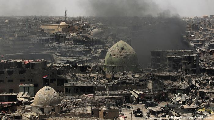 Smouldering ruins of Mosul