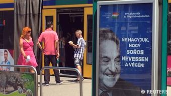Anti-Soros billboard at a tram station in Budapest