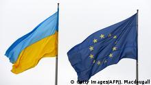 Fahne Ukraine und EU
