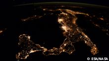 Title Italy at night Released 07/04/2016 5:30 pm Copyright ESA/NASA Description A picture of Italy at night taken by ESA astronaut Tim Peake during his six-month Principia on the International Space Station. He is performing more than 30 scientific experiments for ESA and taking part in numerous others from ESA's international partners.