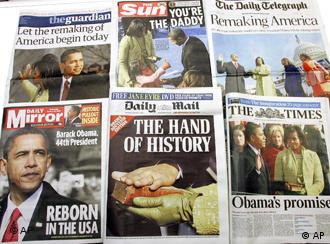 Newspapers with coverage of Barack Obama's presidential inauguration