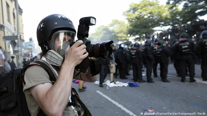 Photographer at G20 protests in Hamburg