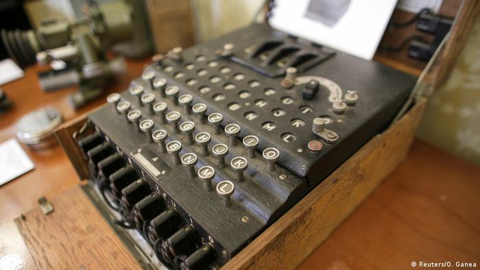 An Enigma cipher machine on display at an auction house in Bucharest, Romania, July 11, 2017.