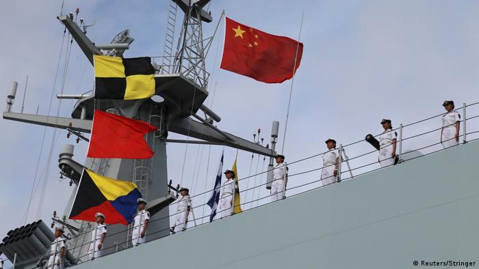 Chinese troops on board a ship bound for Djibouti