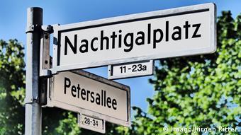 Petersallee and Nachtigalplatz street signs in Berlin