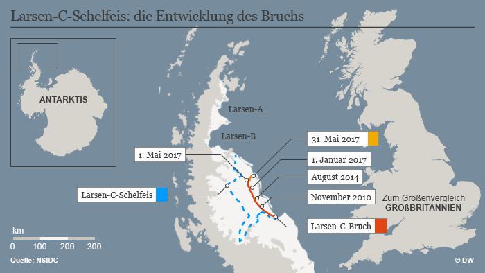 Infografik Larsen-C-Schelfeis Entwicklung des Bruchs
