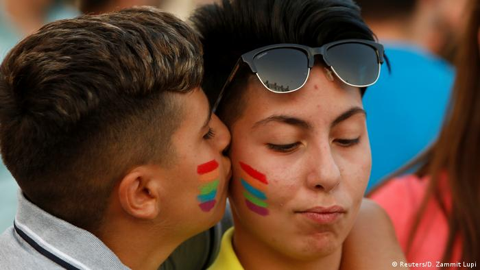 Malta supporters of gay marriage celebrating in front of parliament (Reuters/D. Zammit Lupi)