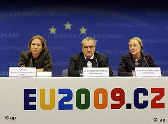 Far left, Tzipi Livni, with with EU's Foreign Affairs chief Javier Solana (center) and EU Commissioner for External Relations Benita Ferrero-Waldner, right, on a discussion podium