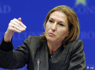 Tzipi Livni gestures while speaking in Brussels